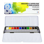 Aquarelle super-fine Boîte métal 12 demi-godets