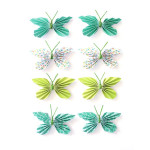 Stickers 3D papillon vert par 8