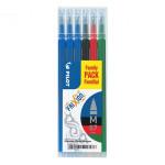 Recharge pour stylo effaçable Frixion Pointe moyenne 3 x bleu + noir + rouge + vert