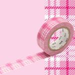 Masking Tape 1P Tartan écossais rose 15 mm x 10 m