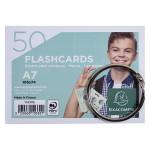 Paquet de 50 Flashcards sous film + anneau Bristol ligné perforé A7